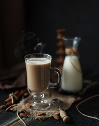 Hot coffe with  almond milk