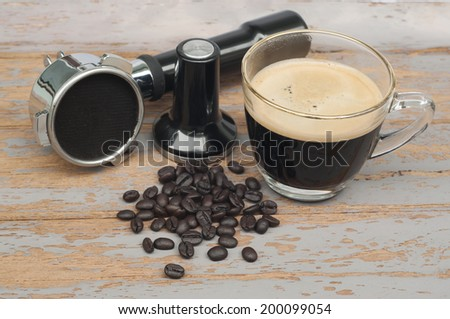 Hot coffee and coffee making equipment.