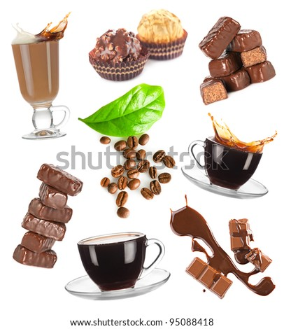 Hot coffee, beans and chocolate candy set on white background