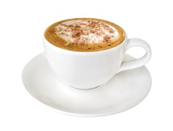 Hot coffee cappuccino in ceramic cup isolated on white background, clipping path included