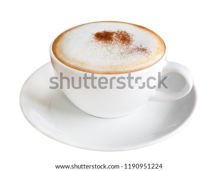 Hot coffee cappuccino in ceramic cup isolated on white background, clipping path included #1190951224