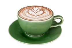 Hot coffee cappuccino latte art in jade color cup isolated on white background, clipping path included