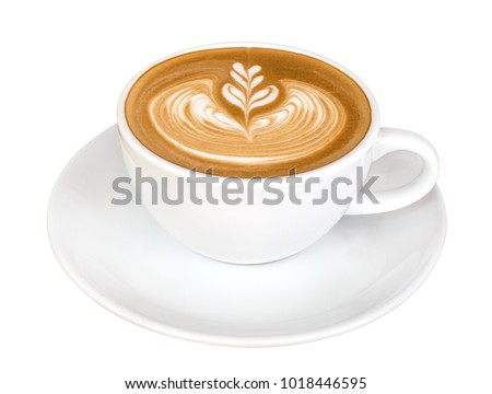 Hot coffee cappuccino latte art isolated on white background, clipping path included #1018446595