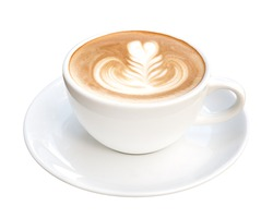 Hot coffee cappuccino latte art with spoon isolated on white background, clipping path included