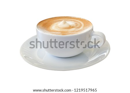 Hot coffee cappuccino latte in white cup with stirred spiral milk foam texture isolated on white background, clipping path included.