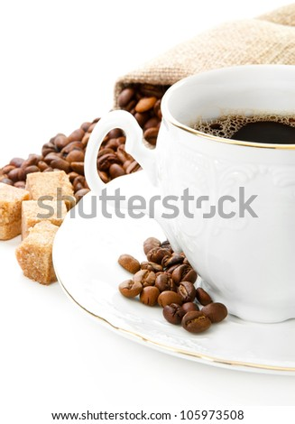 Hot coffee, coffee beans and brown sugar