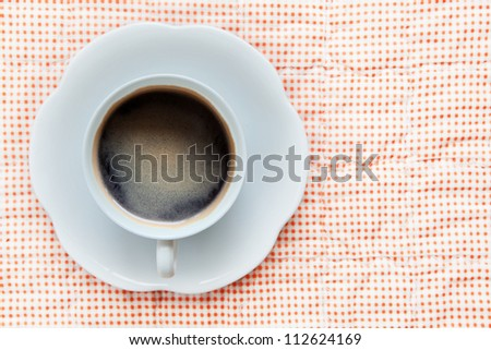 hot coffee in white cup  top view - stock photo