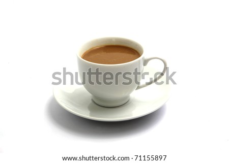 Hot coffee on cup isolated in white background.