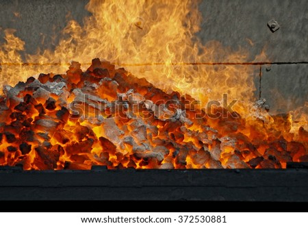 hot coking coal, after discharging from the coke oven battery
