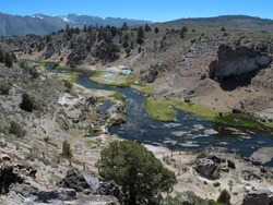 Hot Creek located on Mammoth Mountain has been used as a movie set for several westerns, John Wayne and Steve Mc Queen filmed there.  It is both beautiful and dangerous due to the extremely hot spring