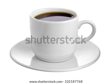 Hot Cup of Coffee in a White Ceramic Mug on a Saucer isolated on white background