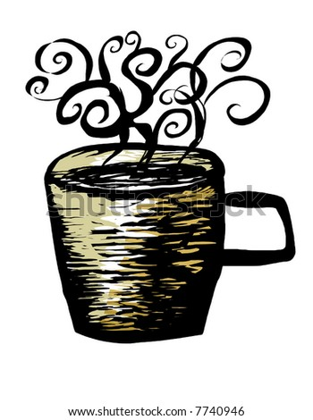 hot cup of coffee or tea - traditional woodcut style illustration