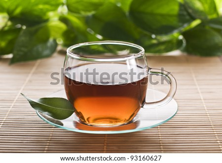 Hot cup of tea close up shoot