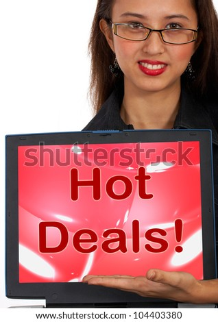 Hot Deals Computer Message Representing Bargains Or Discounts Online