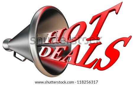 hot deals red word in megaphone isolated on white background. clipping path included