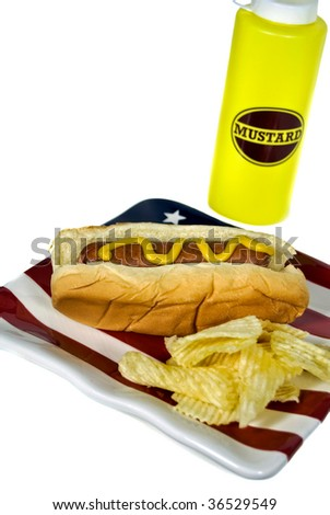 hot dog and chips with mustard bottle