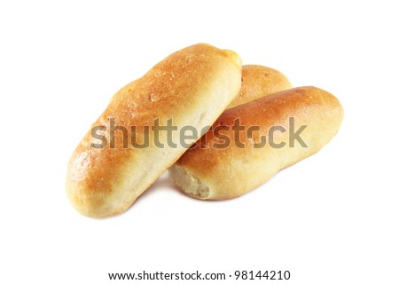 hot dog bread, isolated on white background