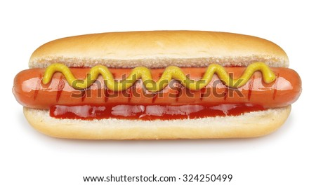 Hot dog grill with mustard isolated on white background. #324250499
