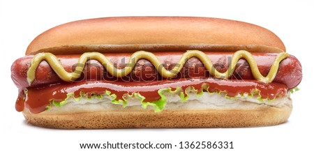Hot dog - grilled sausage in a bun with sauces isolated on white background. #1362586331