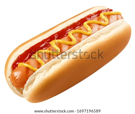 HOT DOG isolated on white background, clipping path, full depth of field