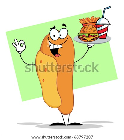 stock photo : Hot Dog Mascot