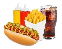 hot dog menu with french fries and cola