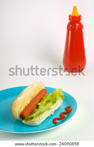 Hot dog on blue plate with ketchup in background