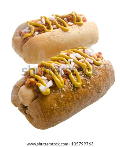 Hot dog on the white background
