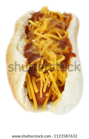 Hot Dog with Chili con carnie and cheese. Isolated on white. Room for text. Chili Dog. Chili Cheese Hotdog.