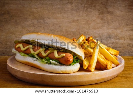 hot dog with french fries fast food menu