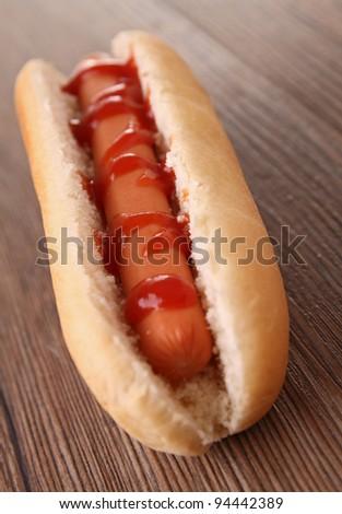 hot dog with ketchup - stock photo
