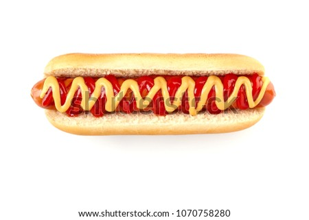 Hot dog with ketchup and mustard on white #1070758280
