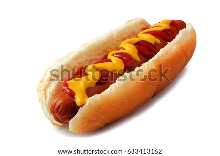Hot dog with mustard and ketchup, side view isolated on a white background