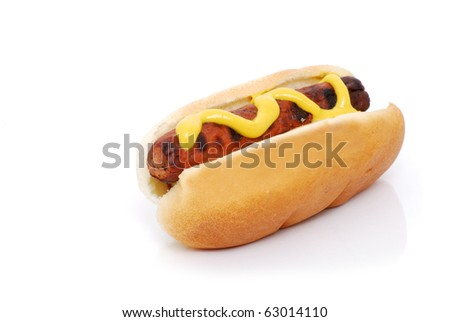 hot dog with mustard isolated white background