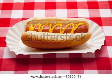 Hot dog with mustard on red gingham table cloth