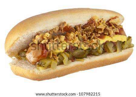 Hot Dog with onions and cucumber isolated on white background (with clipping paths)