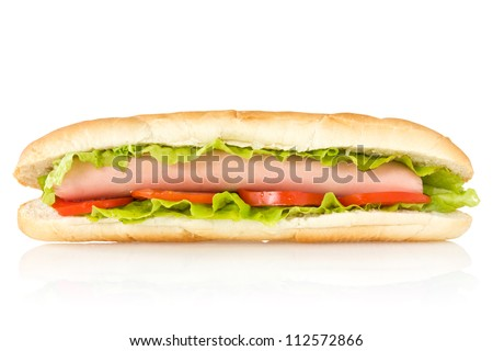 Hot dog with reflection on white background