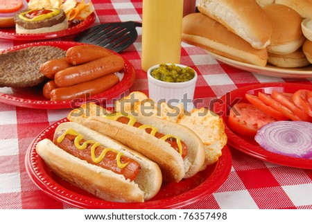 Hot dogs and other picnic food