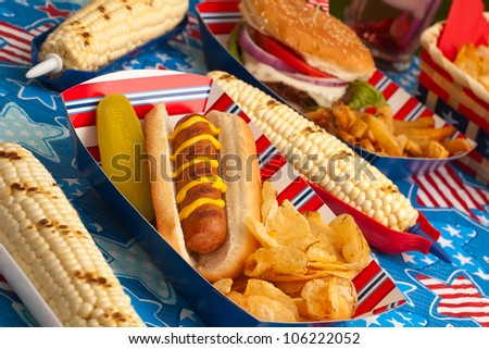 Hot dogs, corn and burgers on 4th of July picnic in patriotic theme