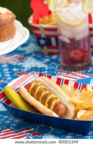 Hot dogs, corn and drinks on 4th of July picnic in patriotic theme