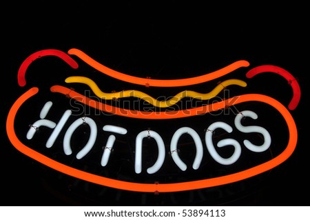 Hot Dogs Neon Red, Yellow and White Sign with Mustard