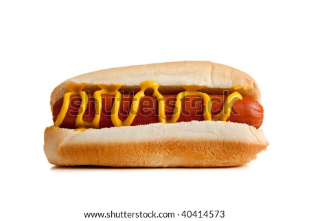 Hot dogs on a bun with mustard on a white background