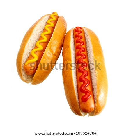 Hot dogs or Wieners with mustard and ketchup toppings, the original classic take away food