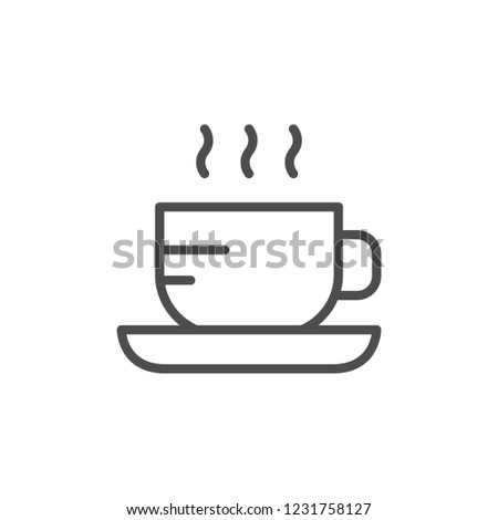 Hot drink line icon isolated on white