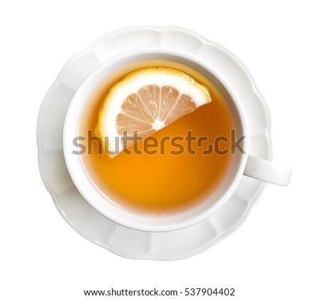 Hot earl grey tea with lemon slice top view isolated on white background, clipping path included