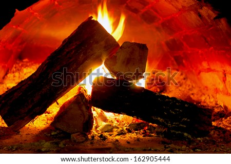 Hot fire in oven