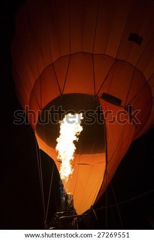 hot flames heating the air inside the hot air balloon