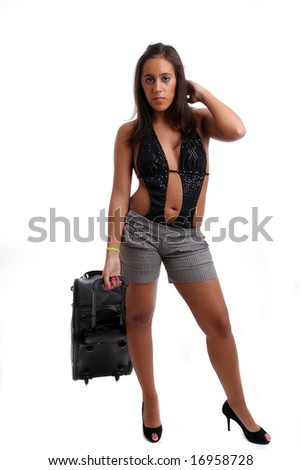 Hot Girl going on vacations, isolated over white background - stock photo