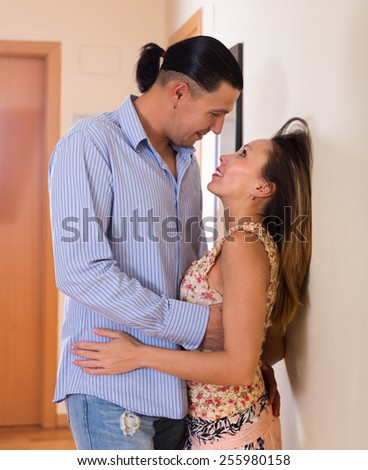 Hot girl making love with colleague at office
