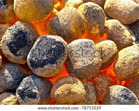 Hot glowing coal close up